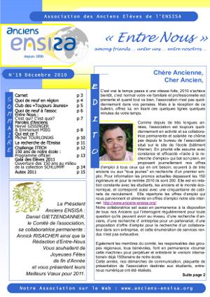Bulletin Entre-Nous n°19 - Décembre 2010